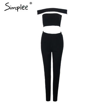 Simplee One piece elegant women jumpsuits rompers Summer bandage sexy black casual girls long pants playsuits coveralls