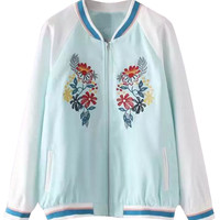 Blue Contrast Embroidery Floral Long Sleeve Bomber Jacket