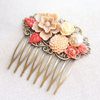 Fantasy garden  collage hair comb pretty floralcoral by tattychic