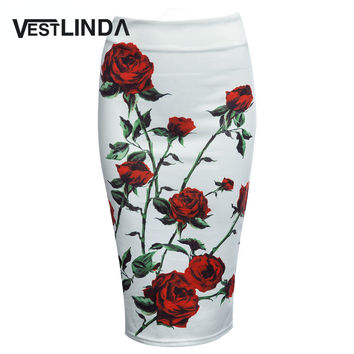VESTLINDA Vintage Women Pencil Skirt High Waist White Pattern Bodycon Ladies Midi Skirts Floral Print Slim Hip Pencil Skirts