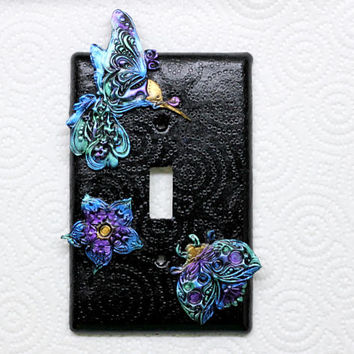 Iridescent Hummingbird Light Switch Cover, Hummingbird Decor, Ladybug Light Switch, Black Switch Cover, Unique Light Switch, Switch Plate