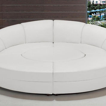 Divani Casa Circle - Modern Bonded Leather Circular Sectional 5-Piece Sofa Set