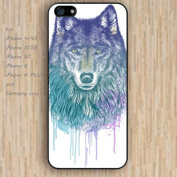 iPhone 6 case watercolor wolf iphone case,ipod case,samsung galaxy case available plastic rubber case waterproof B051