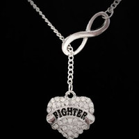 Infinity Crystal Fighter Gift For Cancer Survivor Lariat Style Necklace