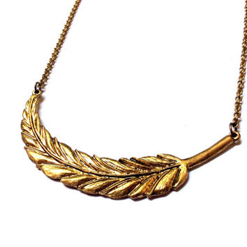 large sideways feather necklace