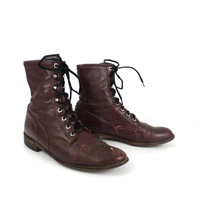 Roper Boots Vintage 1980s Distressed Burgundy Lace up men's size 9 1/2 Justin