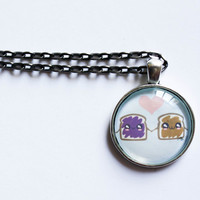 Peanut Butter And Jelly Necklace - PB and J Pendant Necklace - Kawaii Jewelry - Pastel Goth - Fairy Kei
