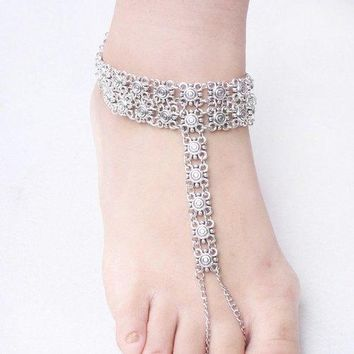 Vintage Engraved Floral Indian Toe Ring Anklet - Silver