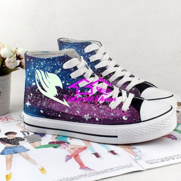 Custom Fairy Tail Shoes, Galaxy and Fairy Tail Symbol on High Tops, Amazing Sneakers for Anime Fans, Cos-play Teens Shoes, Not Converse