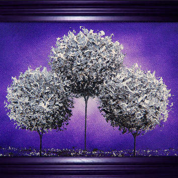 Modern Art Oil Painting, Silver Tree Fantasy Art Dreamscape, Purple Art Abstract Landscape Painting, Original Art Tree Painting, 5 x 7