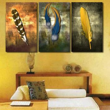 3 Panel Indian Feathers Wall Art Panel Wall Picture Home Decor Framed UNframed