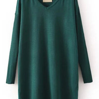 Green V-neck Knit Long Sleeve Mini Shift Dress
