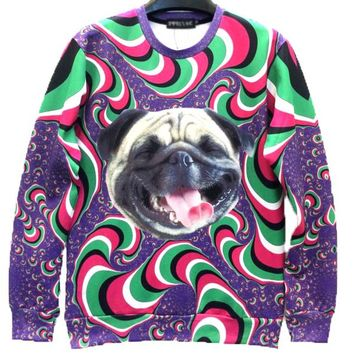 Laughing Pug Puppy Dog Psychedelic Trippy Graphic Print Unisex Pullover Sweater