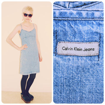 Vintage 80s 90s CALKIN KLEIN CK jeans chambray washed denim mini day dress skirt floral folk embroidery grunge