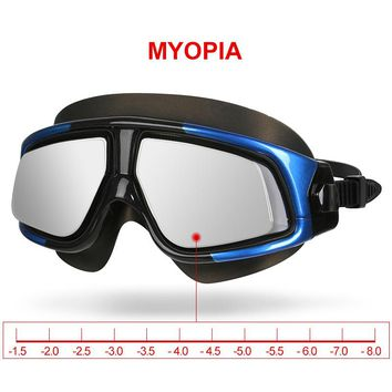 Copozz Mirrored Myopia Swimming Goggles Silicon Large Frame Swim Glasses Waterproof Anti Fog UV Eyewear Men and Women Mask