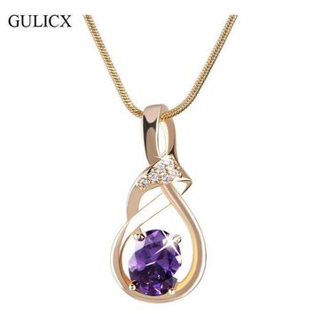 ONETOW GULICX New Purple Crystal Wedding Jewelry for Women 18K Gold Plated Luxury Brand Statement Zirconia Pendant Necklace P019/P020