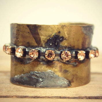 Wide Rustic Brass Cuff Bracelet, Bohemian Metal Cuff, Brass Oxidized Jewelry, Gypsy, Hippie, Boho Recycled Mixed Metal Jewelry