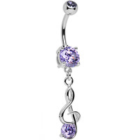 Purple Tanzanite CZ Treble Clef Music Dangle Belly Ring | Body Candy Body Jewelry