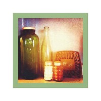 Retro Bistro Table Still Life with Old Bottles Canvas Print
