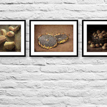 Rustic Kitchen Decor Set of 3 Food Photographs, Brown Olive Green, Farmhouse Decor Set, Country Kitchen Decor Set, Kitchen Art Photo Prints