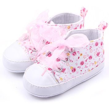 Baby Shoes Flower Ribbon Girl Sneaker Lace Up Soft Sole Prewalkers
