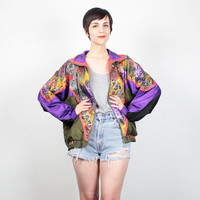 Vintage 1980s Bomber Jacket Olive Green Purple Windbreaker Jacket Baroque Floral Paisley Print Track Jacket 80s Sporty Wind Breaker L Large