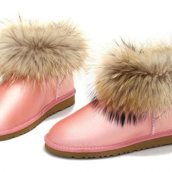 ESBON UGG Fox Crystal Women Fashion Casual Wool Winter Snow Boots Pink