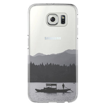 Landscape River Boats Samsung Galaxy S6 Edge Clear Case S6 Case S5 Transparent Cover iPhone 6s plus Case