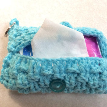 crochet Purse Tissue Holder With Key Ring / teal / hand crochet / pocket tissue holder / USA / party favor / gift idea/ basket weave stitch