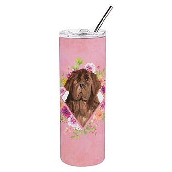 Newfoundland Pink Flowers Double Walled Stainless Steel 20 oz Skinny Tumbler CK4221TBL20