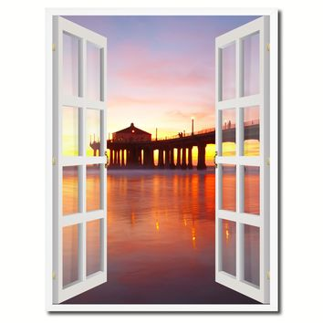 Manhattan Beach California Sunset View Picture French Window Canvas Print with Frame Gifts Home Decor Wall Art Collection