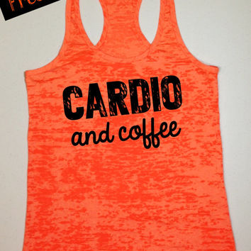 Tank Top of the Month. Cardio and Coffee. Fitness Tank. Crossfit Tank. Workout Tank. Motivational Tank. Gym Clothing. Free Shipping USA