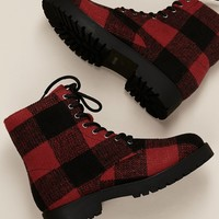 Lumberjack Plaid Lace Up Heavy Sole Boots