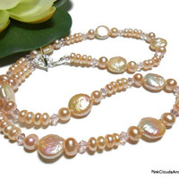 Pearl Necklace,Peach Necklace,Freshwater Pearl,Natural Pearl,Elegant Jewelry, Crystal Pearl,Wedding Jewelry,Jewelry Gift for Her,Handmade