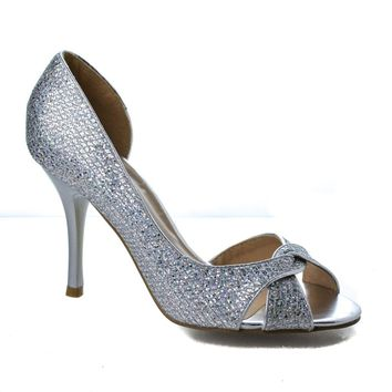 Robin1 Knotted Peep Toe Glitter Mesh Dress D'orsay Stiletto Heel Sandals