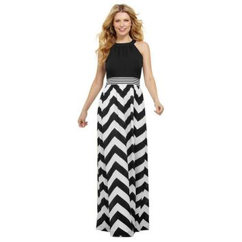 New Fashion Sexy Women Striped Long Maxi Dress Ladies Summer Boho Beach Elegant Sundress Black and White Dresses
