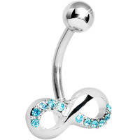 Infinity Symbol Aqua Gem Belly Button Ring | Body Candy Body Jewelry