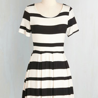 ModCloth Nautical, Travel, Scholastic Mid-length Short Sleeves Fit & Flare Bonjour the Best Dress