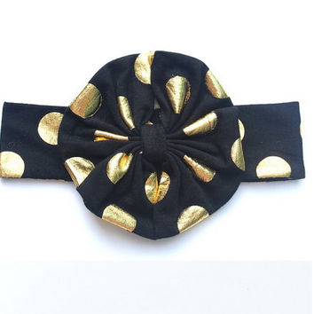 Black & Gold Polka Dot Messy Bow Headband - Baby, Infant Toddler Headwrap - Over the Top Large Turban Headbands - Shiny Gold Bow - Ann Marie