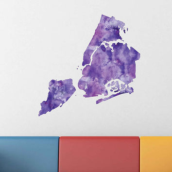kcik1919 Full Color Wall decal Watercolor New York City Map Living room bedroom