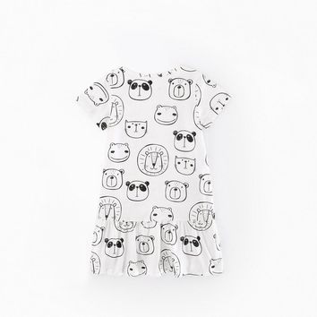 Baby Girls Short-sleeved T-shirt Dress with Lovely Cartoon Pattern Print Soft Cotton Toddler Party Birthday Princess Dress