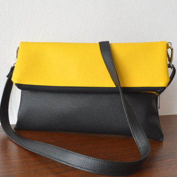 Yellow and black bag purse, Two tone crossbody bag, Foldover clutch with a strap