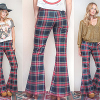 70s Red Plaid Bell Bottoms Small XS 25 26 | Womens 60s Tartan Flare Pants Hip Huggers | Vintage Hippie Goth Boho Chic Grunge Red Plaid Pants