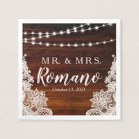 Lights and Lace Rustic Wood Wedding Paper Napkin