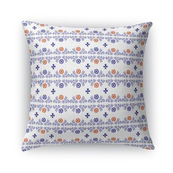 TRIBAL FLOWER HATCH, BRIGHT Accent Pillow By Heidi Miller