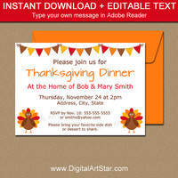 Thanksgiving Invitation Printable, Thanksgiving Baby Shower Invitation, Thanksgiving Birthday Invite, Friendsgiving Invitation Template T2