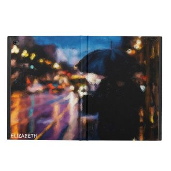 Lady With Umbrella In Rainy Night Moody Drawing Powis iPad Air 2 Case