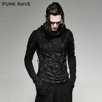 New Punk rave Rock Fashion Casual Black Gothic Novelty Long Sleeve MEN t shirt Y658 M XXL