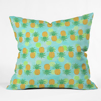 Lisa Argyropoulos Pineapples And Polka Dots Throw Pillow