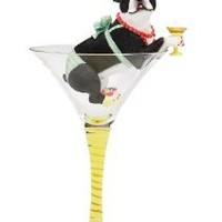 Hiccup by H2Z 9-Inch Boston Terriertini Cocktail Glass with Tall Boston Terrier